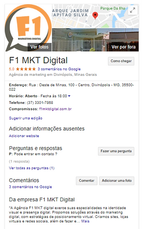 Ficha do Google da Agência F1 Marketing Digital