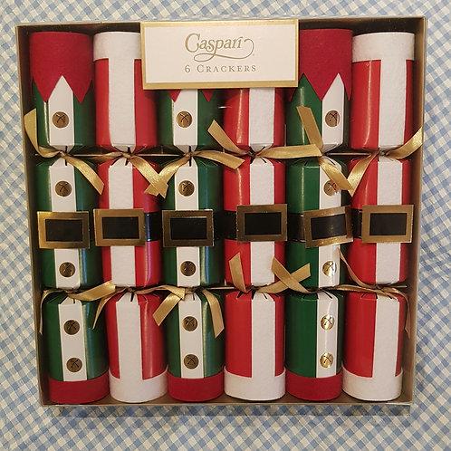 Caspari Santa and Elf Costume Crackers 6 pack