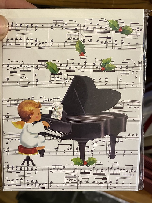 Piano Playing Cherub Christmas Card, small size. Pack of 5