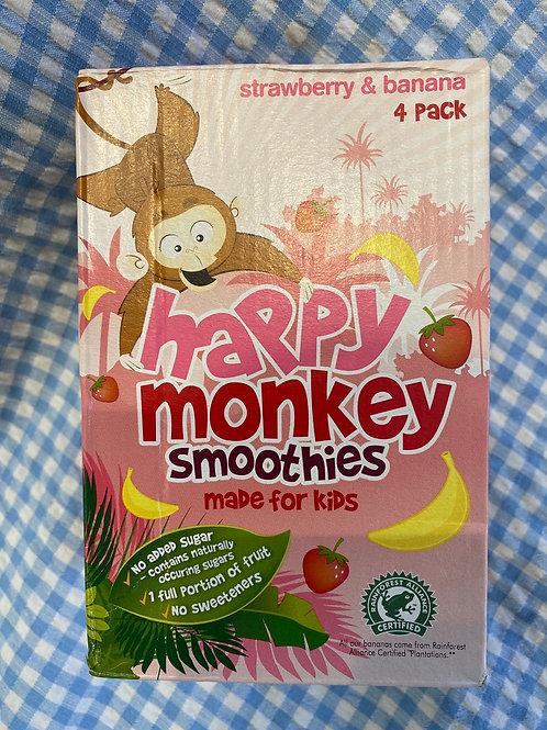 Happy Monkey Smoothies Strawberry and Banana 4 pack