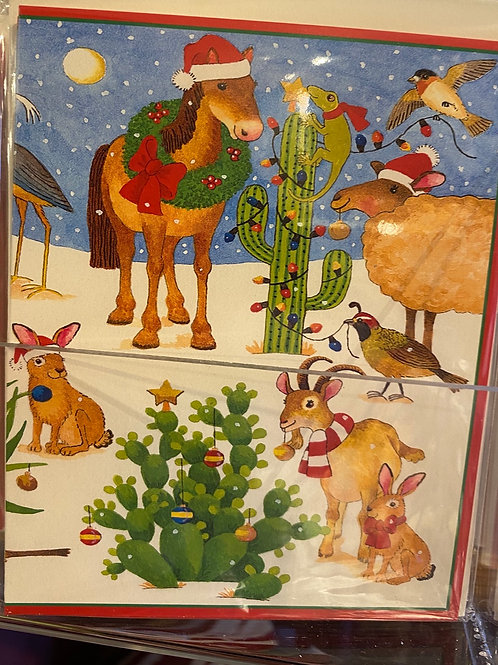 Catcus Christmas card, small size. Pack of 5