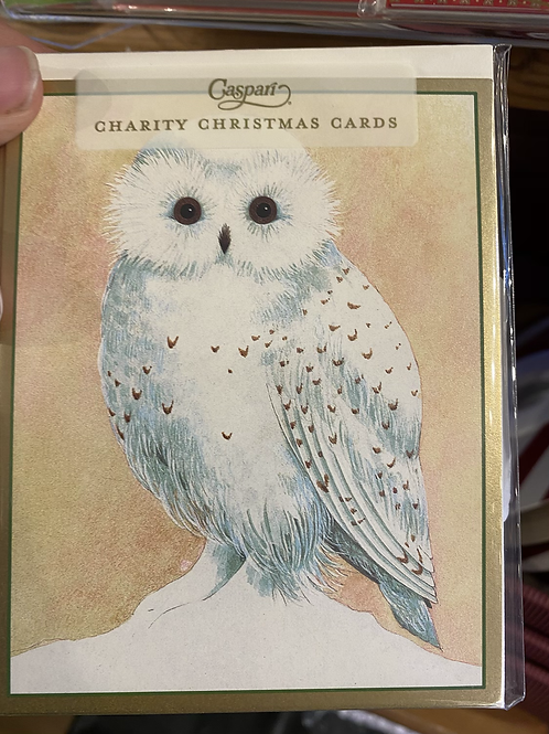 Snowy Owl Christmas Card, small size. Pack of 5