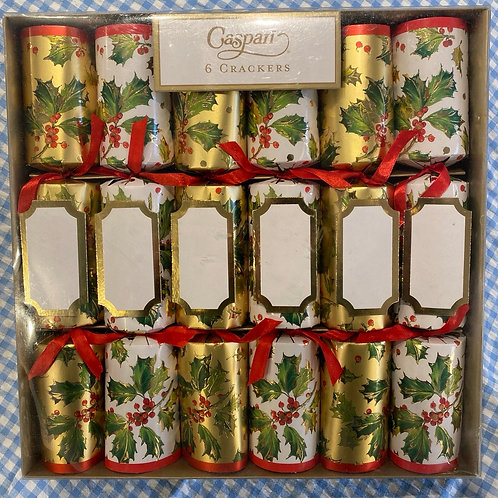 Caspari Gilded Holly Crackers 6 pack