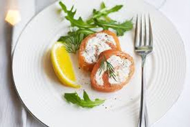 Lemon and Dill Roulade with Smoked Trout, Horseradish and Apple