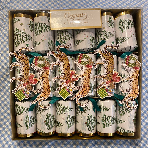 Caspari Crackers Leopards in Snow 6 pack