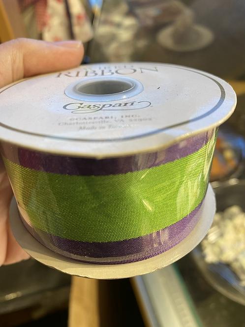 Green & Purple Ribbon, wide width, wired