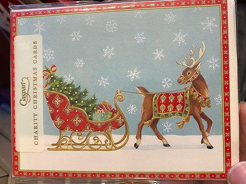 Reindeer Sleigh Christmas card, small. Pack of 5