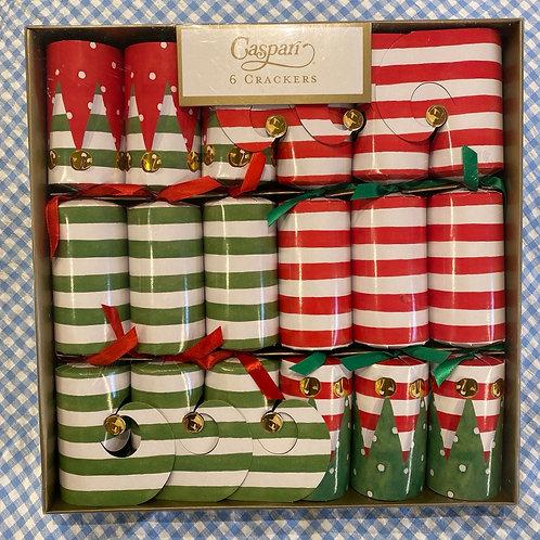 Caspari Stocking Stripe Crackers 6 pack