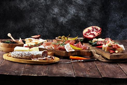 Italian antipasti wine snacks set. Chees