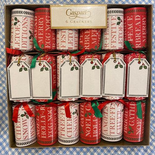 Caspari Yuletide Cheer Crackers 6 pack