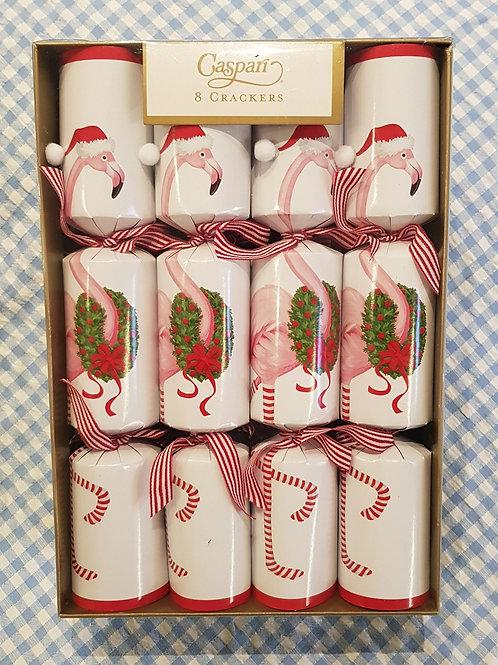 Caspari Christmas Flamingo Crackers 8 pack