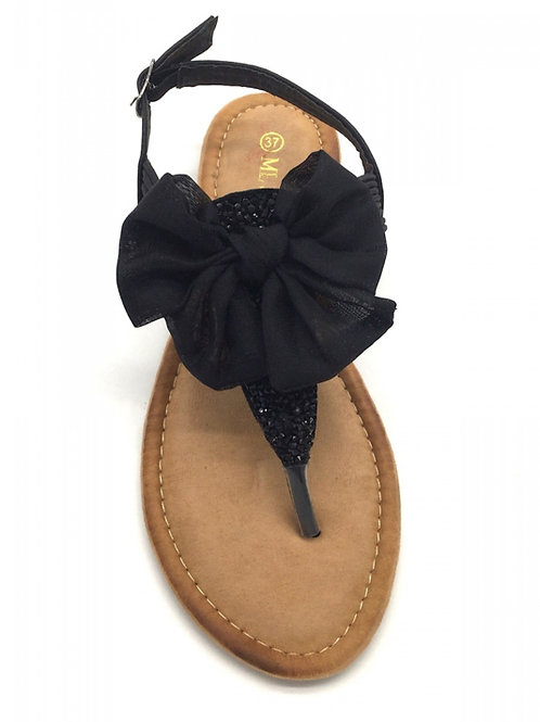 Sandaal met strikje zwart