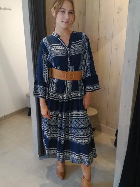 Maxi Aztec dress navy