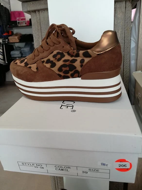 Sneaker leopard camel