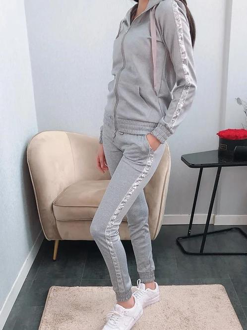 Huispak grijs met glitter boord