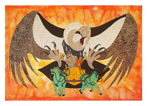 Sita And Jatayu Fight Back (Fine Art Print)