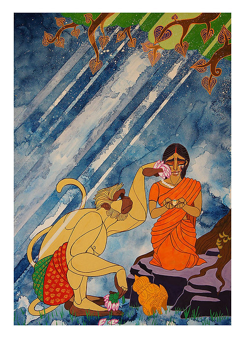 Sita and Hanuman (Fine Art Print)
