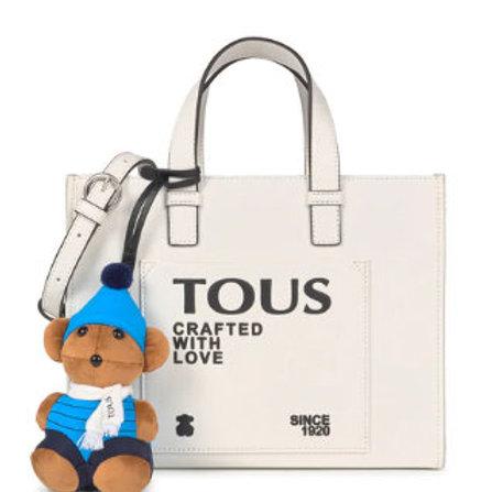 Shopping Saffiano blanco con oso