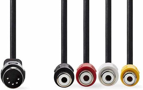 Nedis DIN-Audiokabel DIN 5-Pins M-4x RCA F 0.2m BK