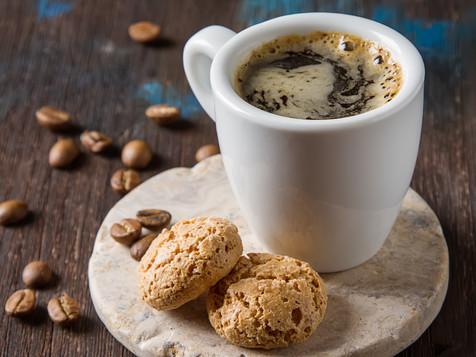 Italian homemade espresso coffee in a wh
