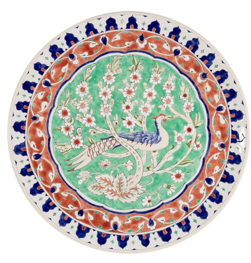 〈綠林中的孔雀〉,釉下彩,30×30cm.jpg