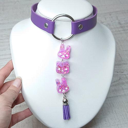 Choker violet Guirlande kawaii Lapin/Ours/Lapin