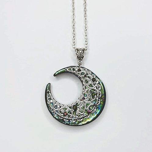 Collier Lune reflets verts