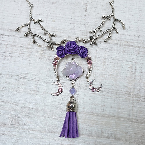 """Collier sautoir """"Fête Païenne"""" violet"""
