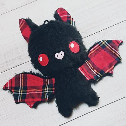 Peluche chauve-souris ecossais rouge