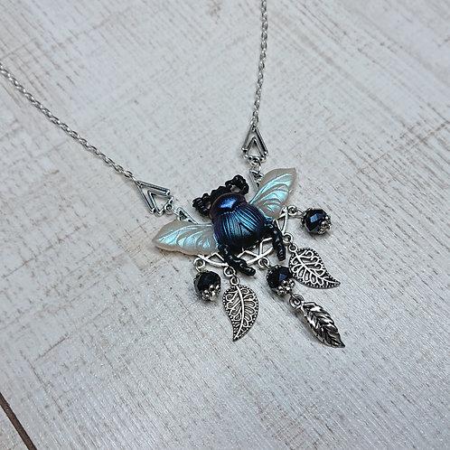 Collier Scarabée bleu