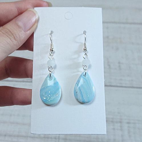 Boucles d'oreilles mabré bleu #03
