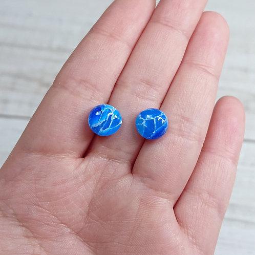 """Boucles d'oreilles puces """"Quartz Bleu"""""""
