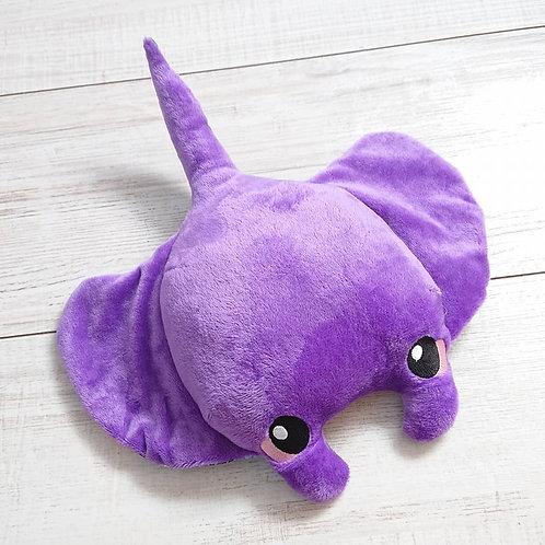 Peluche Raie manta violette, ventre meduses