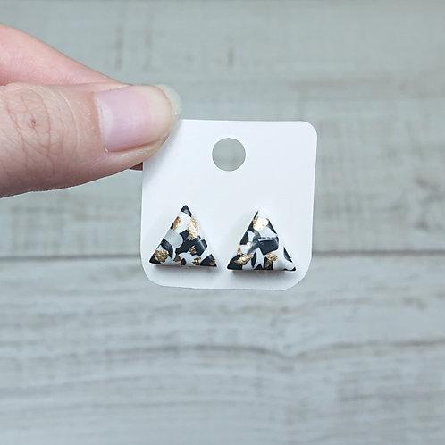 Boucles d'oreilles puces marbre noir et blanc #3
