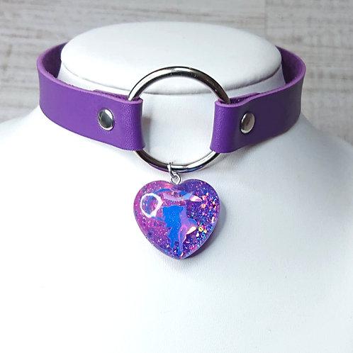 Choker violet Mew coeur