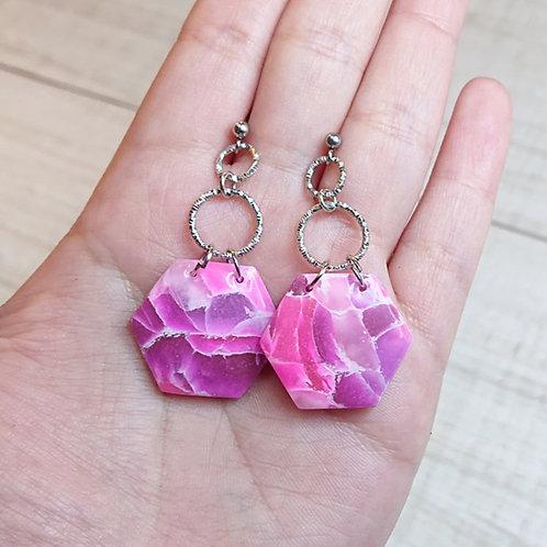 """Boucles d'oreilles """"Rose Précieux"""" hexagones"""