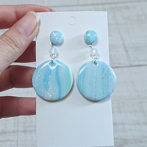 Boucles d'oreilles mabré bleu #08