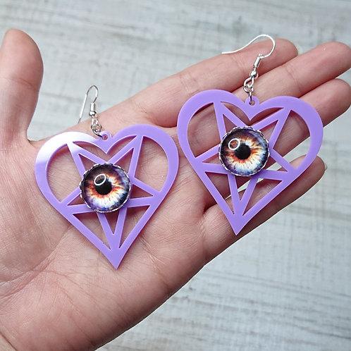 Boucles d'oreilles Coeur pentacle lilas yeux