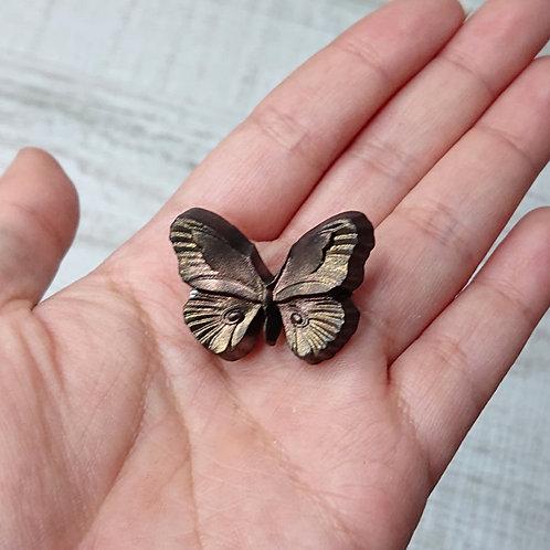 """Broche """"Entomologie"""" papillon brun doré"""