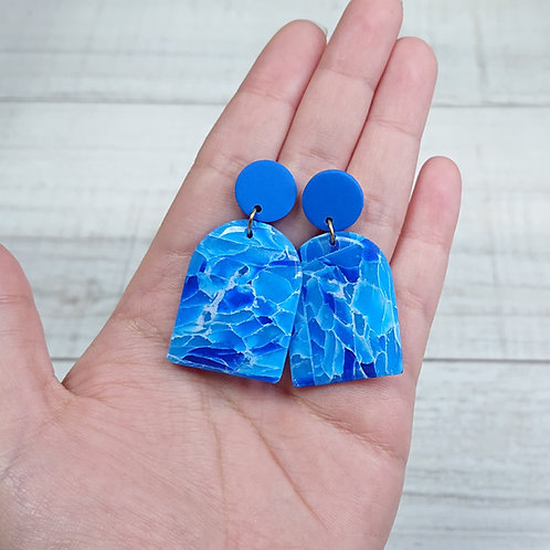 "Boucles d'oreilles ""Quartz Bleu"" grandes portes"