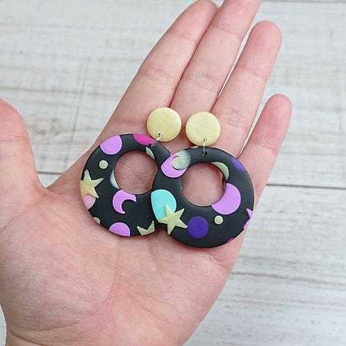 """Boucles d'oreilles """"Kawaii Galaxy"""" anneaux"""