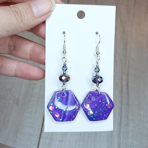 Boucles d'oreilles marbré violet #7