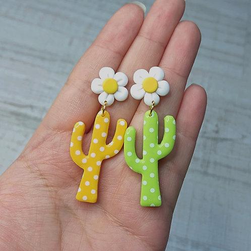 "Boucles d'oreilles ""Lovely Daisy"" cactus ORANGE/VERT"