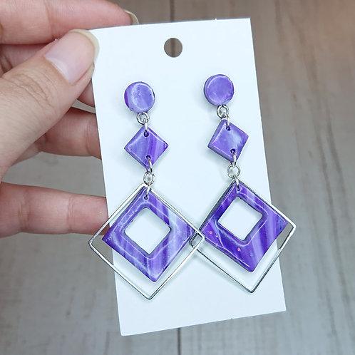 Boucles d'oreilles marbré violet #4