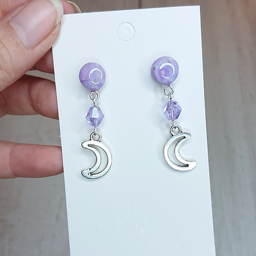 Boucles d'oreilles Lunes lilas