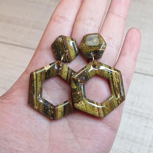 Boucles d'oreilles Hexagones effet bois précieux