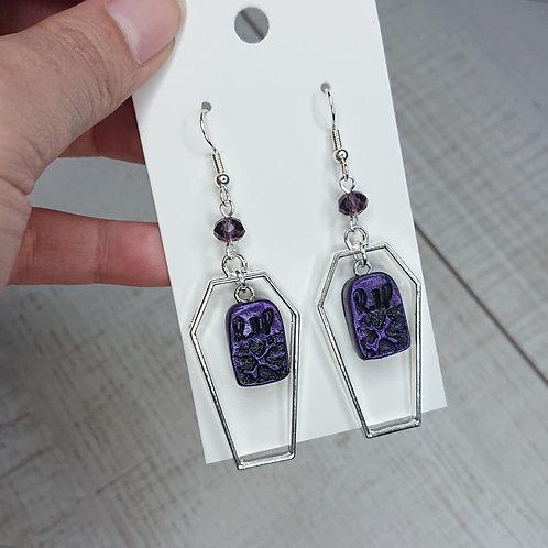 Boucles d'oreilles RIP violettes