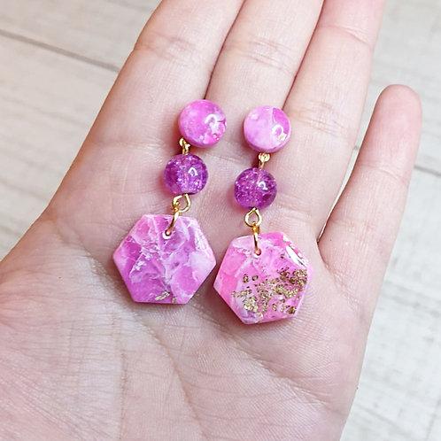 """Boucles d'oreilles """"Rose Précieux"""" petits hexagones"""
