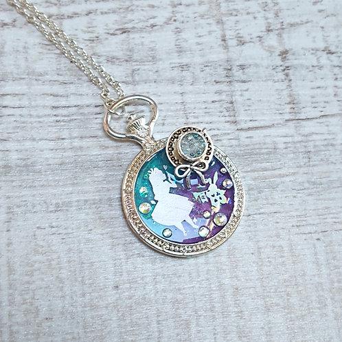 Collier Alice violet et bleu