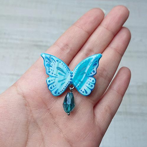Broche Papillon bleu
